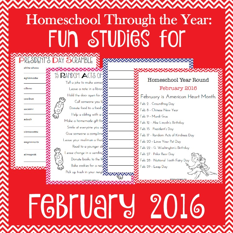 Add some fun studies to your February homeschool lessons with these units, printables, books, and more. | embarkonthejourney.com