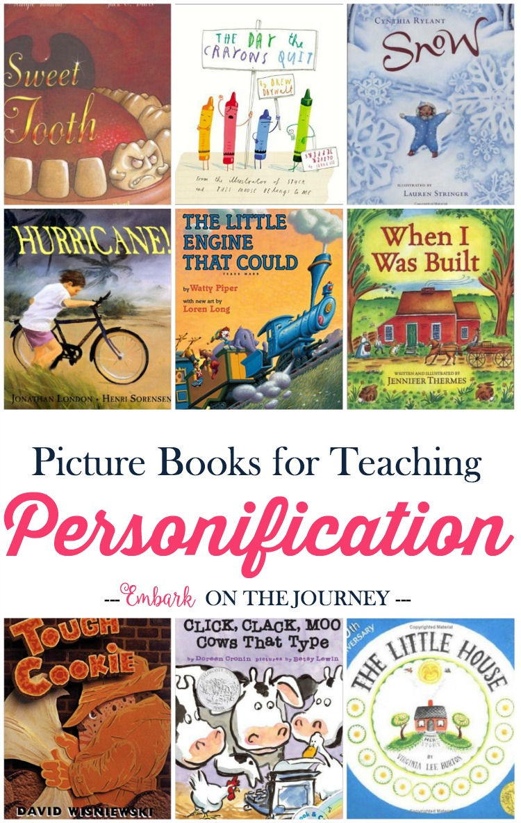 I love how picture books can bring lessons. Here's a fun list of picture books (and free printable worksheets) to use when you teach your kids about personification. | embarkonthejourney.com