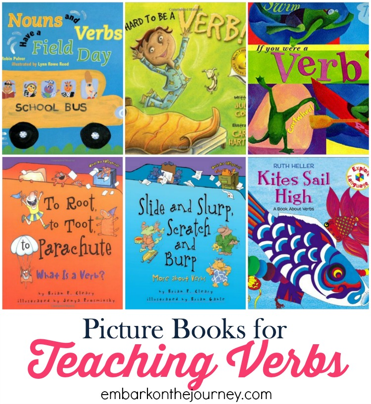 Picture books bring academic lessons to life. Use this list to further illustrate verbs in your homeschool and classroom lessons. | embarkonthejourney.com