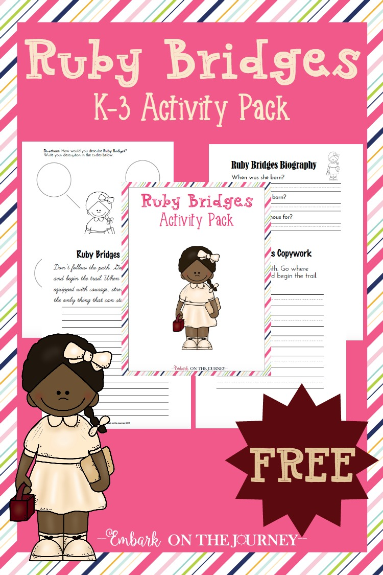 March is Women's History Month. Celebrate with this free Ruby Bridges activity pack for grades K-3. | embarkonthejourney.com