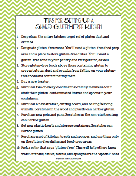 Sharing a gluten-free kitchen with those who aren't gluten-free makes things a little more difficult. But, it's not impossible with these 10 tips for preventing cross-contamination in a shared gluten-free kitchen. | embarkonthejourney.com
