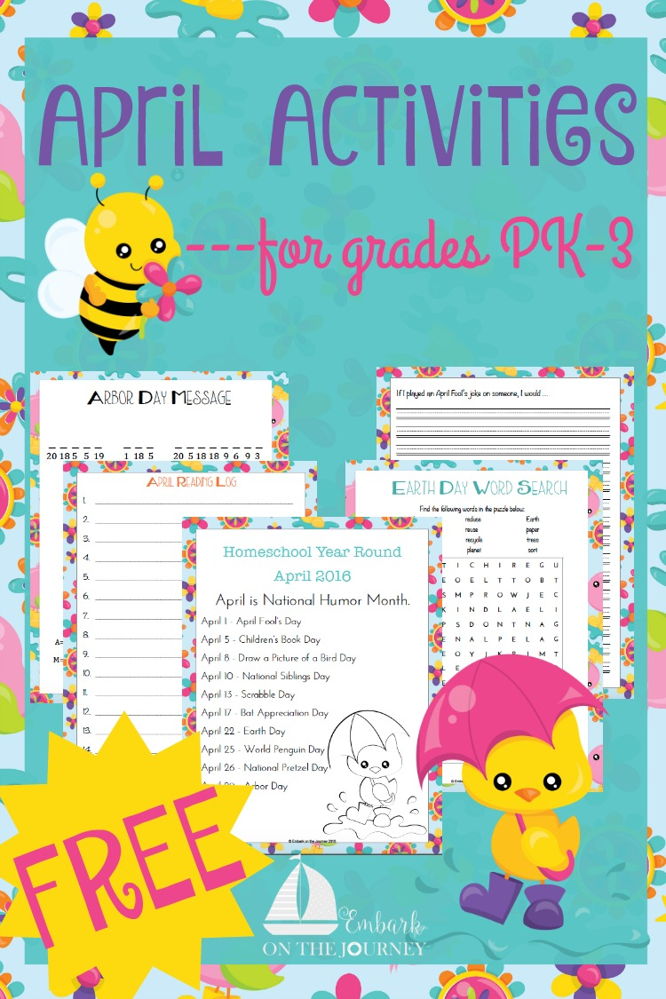 Add some fun studies to your April homeschool lessons with these units, printables, books, and more. | embarkonthejourney.com
