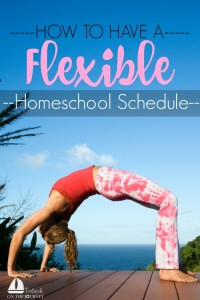 Flexibility is the key to homeschool sanity! We have the freedom of flexibility in our choice to home educate our children. Let's capitalize on that freedom and quit stressing ourselves out. We don't have to be slaves to our schedules. We can make them work for us! | embarkonthejourney.com