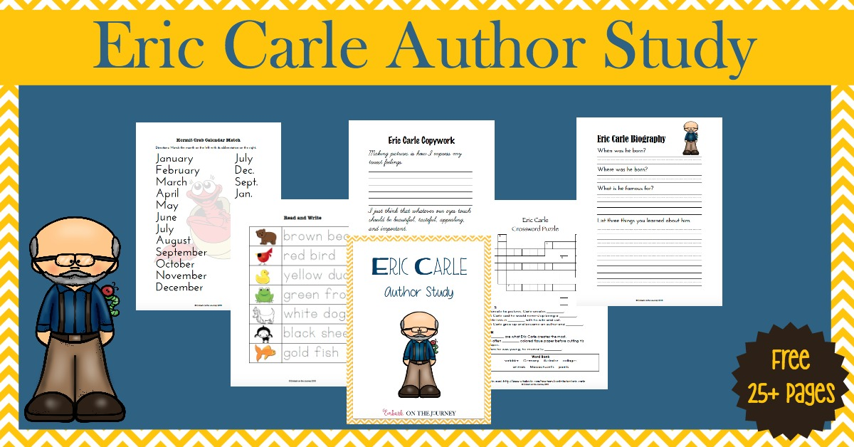 Here's a fun collection of hands-on activities and a FREE 28-page printable to facilitate an Eric Carle Author Study with your K-3 readers. | embarkonthejourney.com
