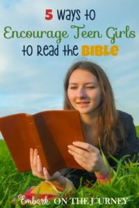 As my daughter heads into her teen years, I want to switch from momma-led Bible reading to self-directed. Reading for knowledge. Reading to seek to know more about Him. Reading because she wants to grow closer to the Lord for herself. Here are 5 ways to encourage teen girls to read the Bible. | embarkonthejourney.com
