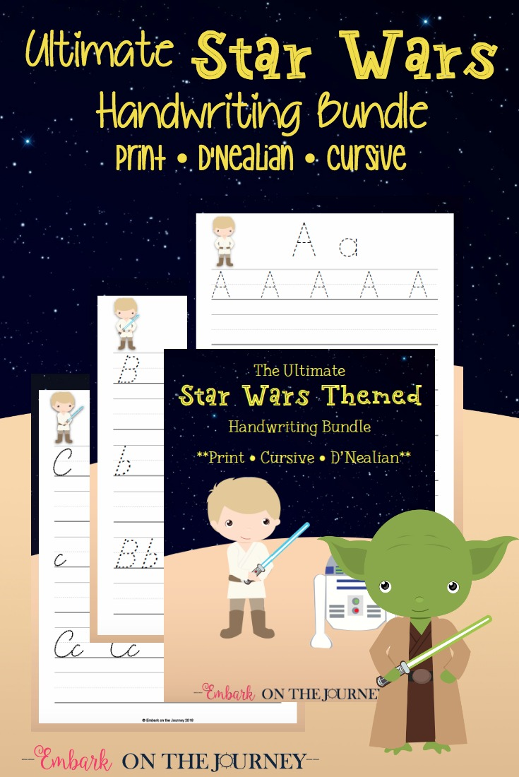Celebrate Star Wars Day with your students and this amazing handwriting bundle! Kids in PreK - 3 will love practicing their handwriting with their favorite Star Wars characters. This pack includes print, d'nealian, and cursive fonts! | embarkonthejourney.com