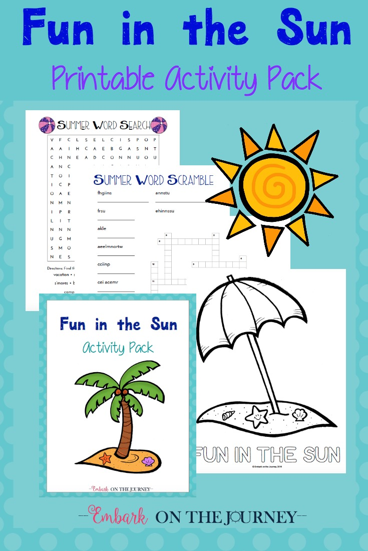Keep kids occupied this summer with a Fun in the Sun summer-themed activity pack! | embarkonthejourney.com