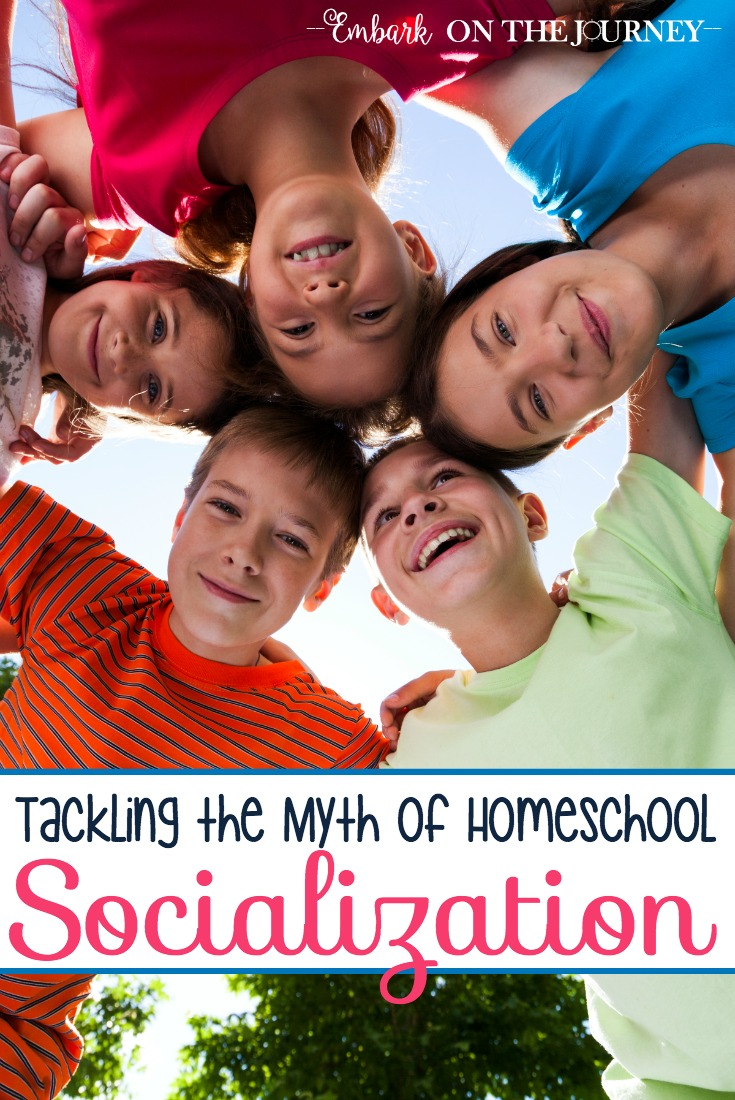 "Unless you homeschool under a rock, you've encountered the inevitable comments about socializing your homeschoolers. In the past fifteen years, I've lost count of the number of times I've heard ""socialization"" as an argument against homeschooling. Today, I'm tackling the myth of homeschool socialization. 