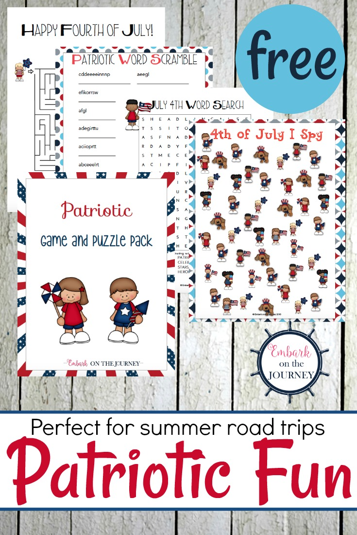The 4th of July is just around the corner. Are you gearing up for a family road trip? Print out this fun patriotic printable activity pack before you hit the road.