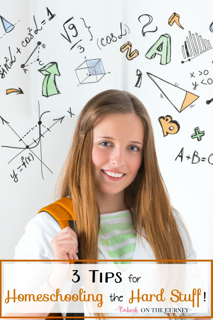 Homeschool moms, new and experienced, worry about teaching the 'hard stuff.' Are they really capable of teaching chemistry, foreign languages, and upper level maths? Here are three resources I rely upon to help me tackle those tough subjects in my homeschool. | embarkonthejourney.com