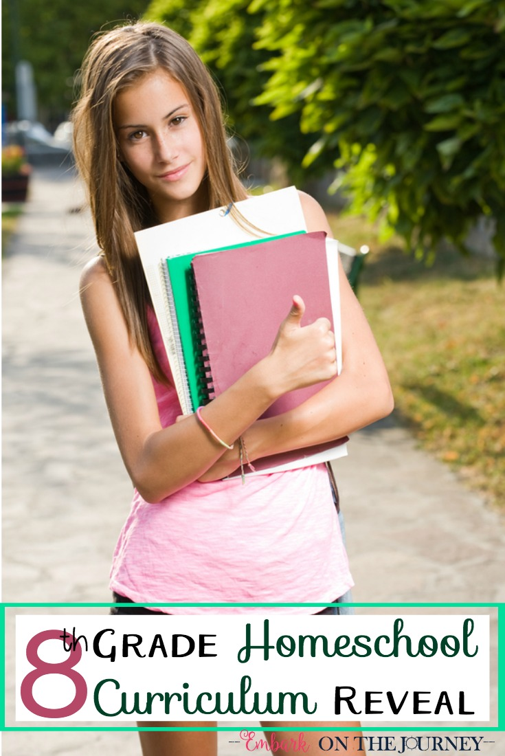 We're gearing up for another homeschool year! Here's what we've chosen for our 8th grade homeschool curriculum.   embarkonthejourney.com