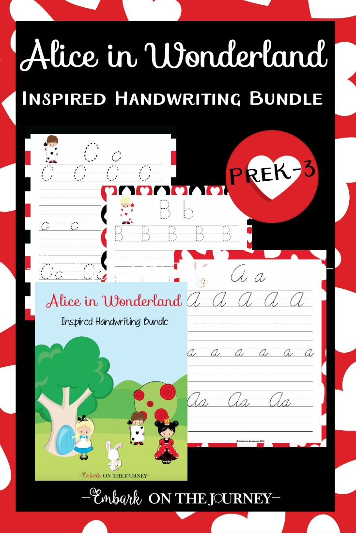 If you and your kids are fans of Alice in Wonderland, you need this fun new handwriting bundle I've created! There are three fonts included in this bundle - print, d'nealian, and cursive! | embarkonthejourney.com
