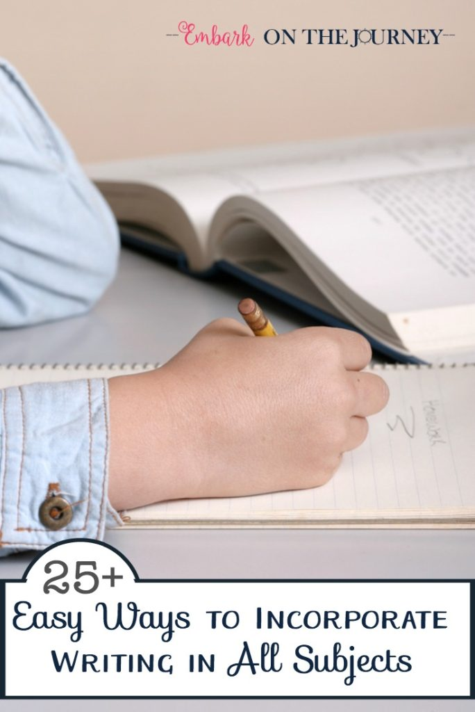 Don't restrict writing to your writing block. Come discover 25 ways you can incorporate writing in all of your subject areas. I promise, homeschool mommas, it's not as difficult as it sounds! | embarkonthejourney.com