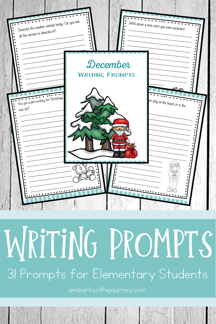 Use this list of December writing prompts to help you create some fun journal entries for your elementary school students. One prompt for each day!