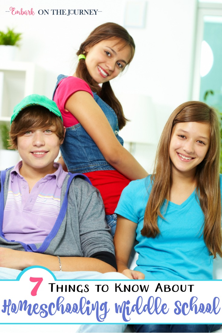 Homeschool momma, do not let middle school intimidate you. Here are 7 things you need to know to make homeschooling doable and maybe even FUN through the middle school years! | embarkonthejourney.com