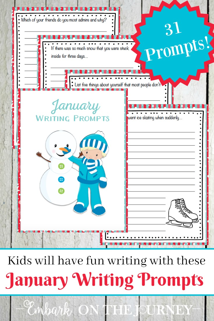 Keep kids writing all month long with January writing prompts - one for every day of the month! | embarkonthejourney.com