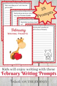 With snow on the ground and temperatures below freezing (at least in my part of the country), it's the perfect time to sit in the warmth of the house and get those creative juices flowing with these February Writing Prompts.   embarkonthejourney.com