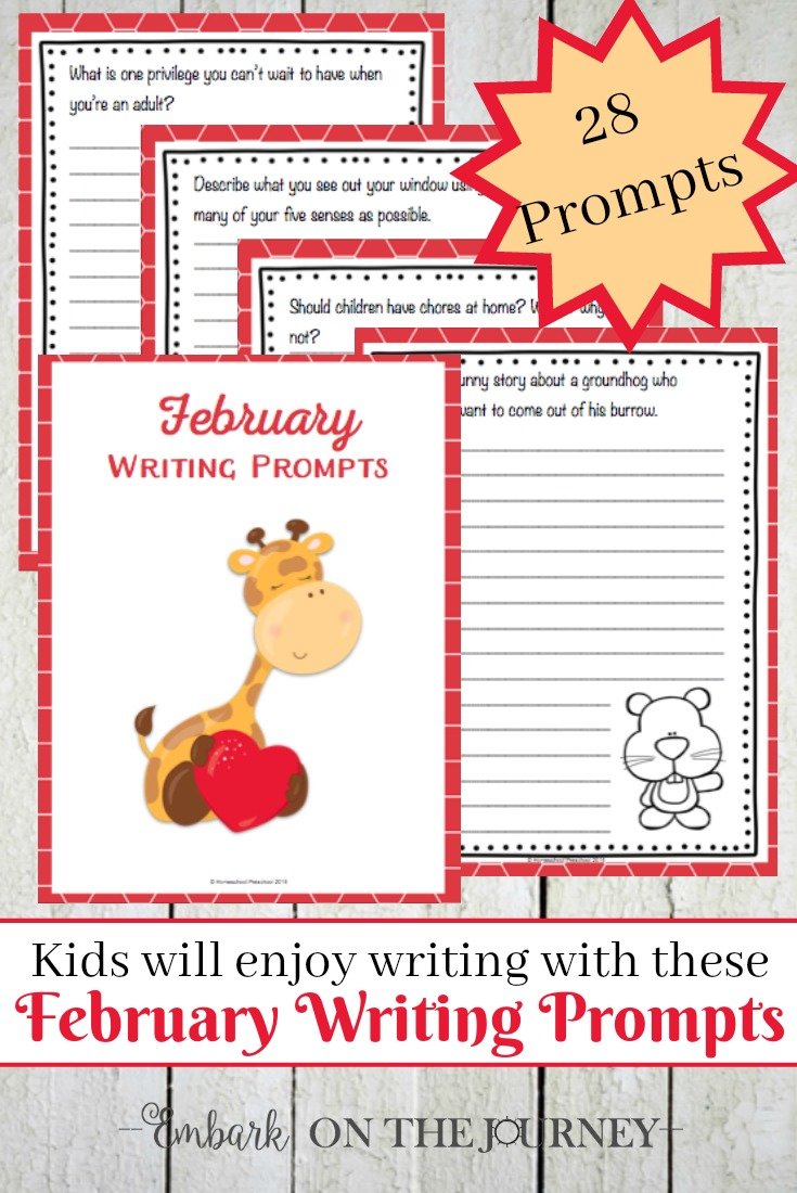 With snow on the ground and temperatures below freezing (at least in my part of the country), it's the perfect time to sit in the warmth of the house and get those creative juices flowing with these February Writing Prompts. | embarkonthejourney.com