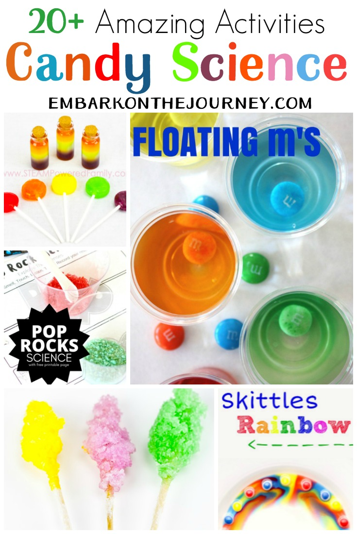 Whether you have your kids melting, dissolving, mixing, or manipulating candy, they're going to have a blast trying these candy science experiments!   @homeschljourney