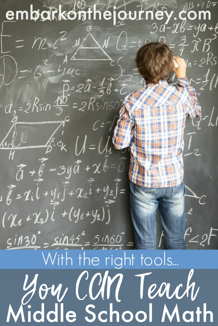 Don't let middle school math get you down! With the right tools, you can successfully teach it in your homeschool. | embarkonthejourney.com