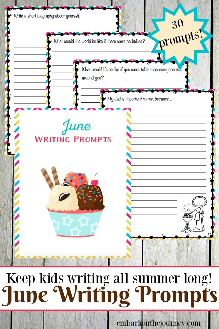 30 elementary writing prompts for June! Kick off your summer and prevent brain-drain with these printable writing prompts.