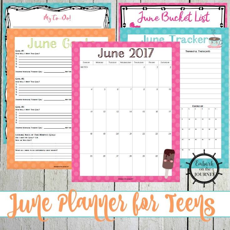 Personal Planner for Teens: June Edition