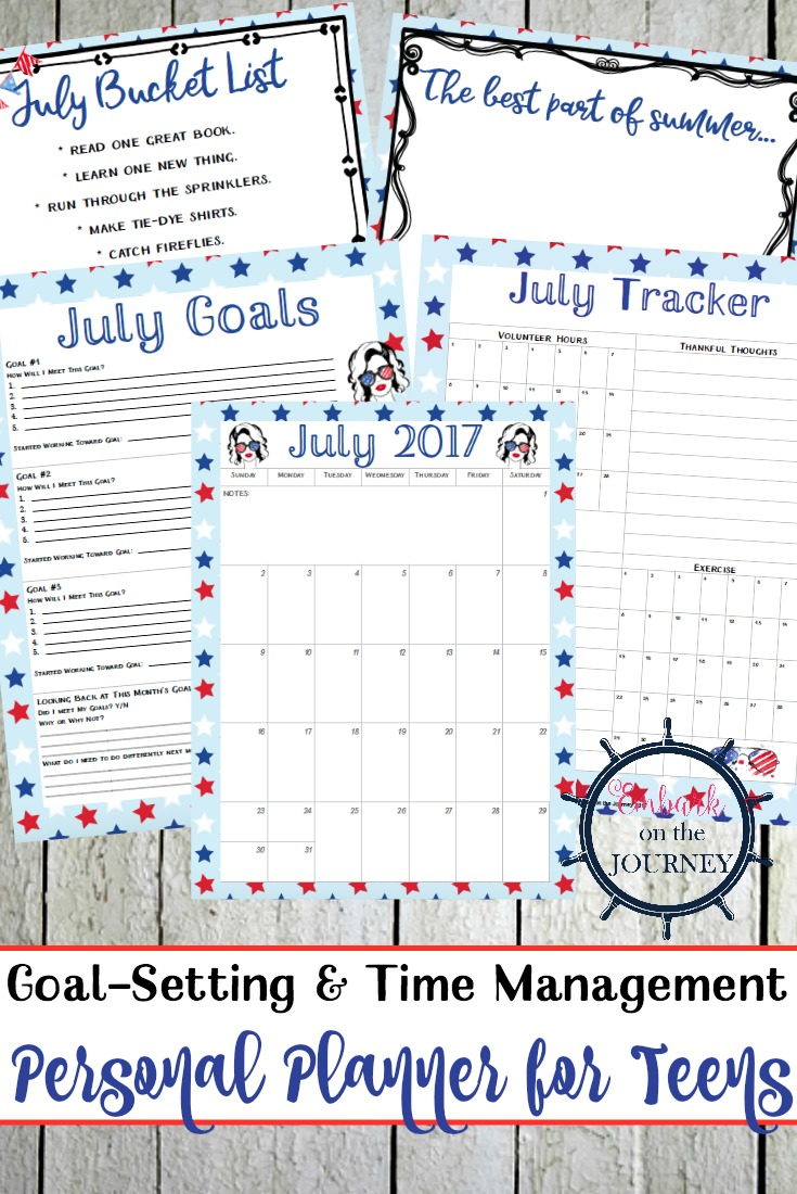 Summer's here! Help your teens stay organized with a personal planner for teens. This one has calendars, goal trackers, journal prompts, and more!