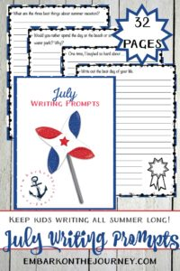 31 elementary writing prompts for July! Keep kids writing and prevent brain-drain this summer with these printable writing prompts.