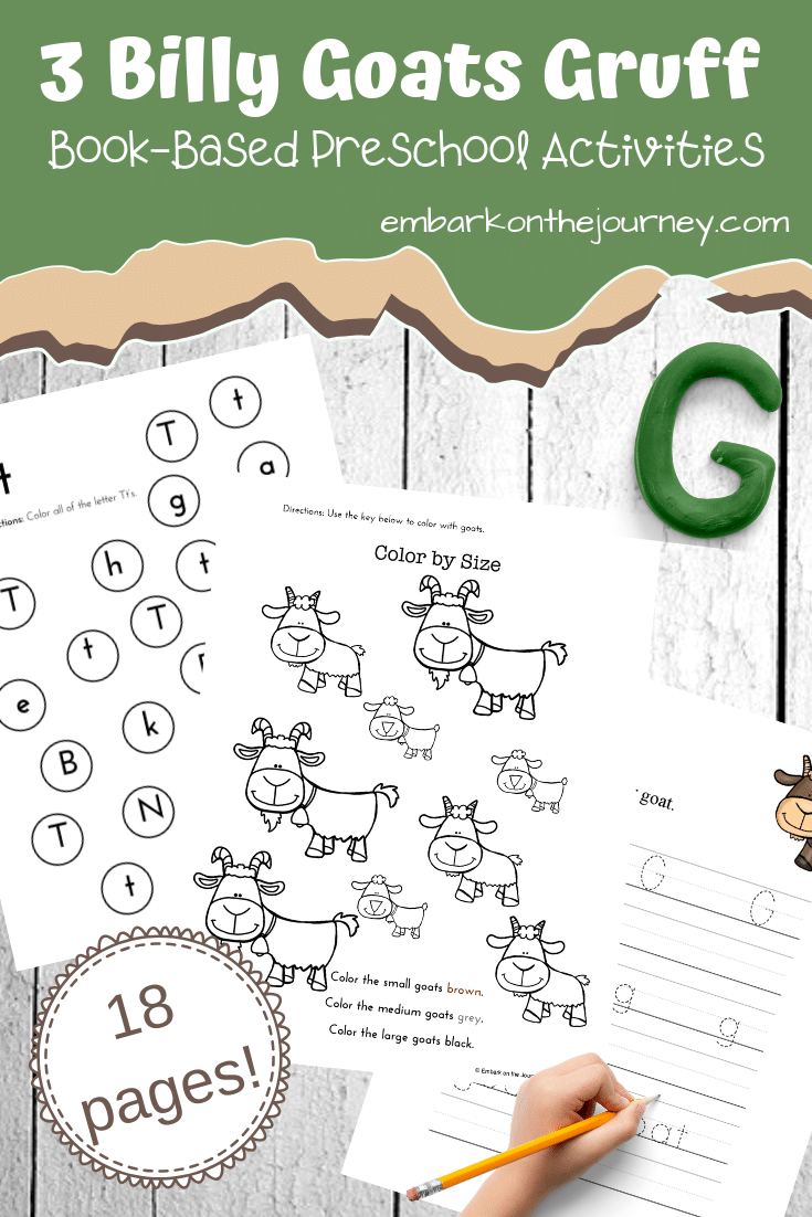 FREE printable Three Billy Goats Gruff activities! They focus on colors, alphabet, and math with a fun farm theme. Perfect for your book-based lessons.