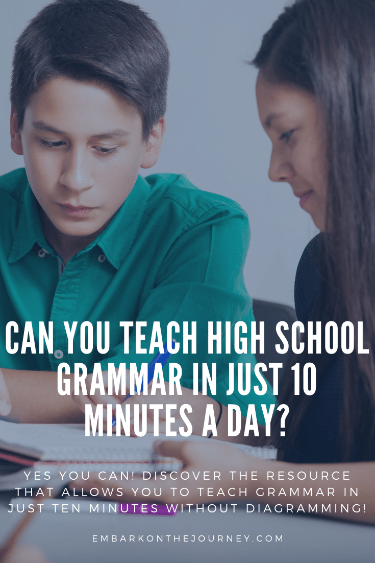 High school grammar needn't take all day, and it doesn't have to include diagramming! Discover how you can teach high school grammar in just 10 minutes a day!