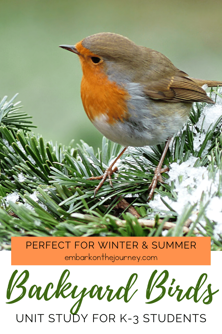Kids will love studying the birds in their own backyards with this fun backyard birds unit study! It includes books, experiments, and printables!