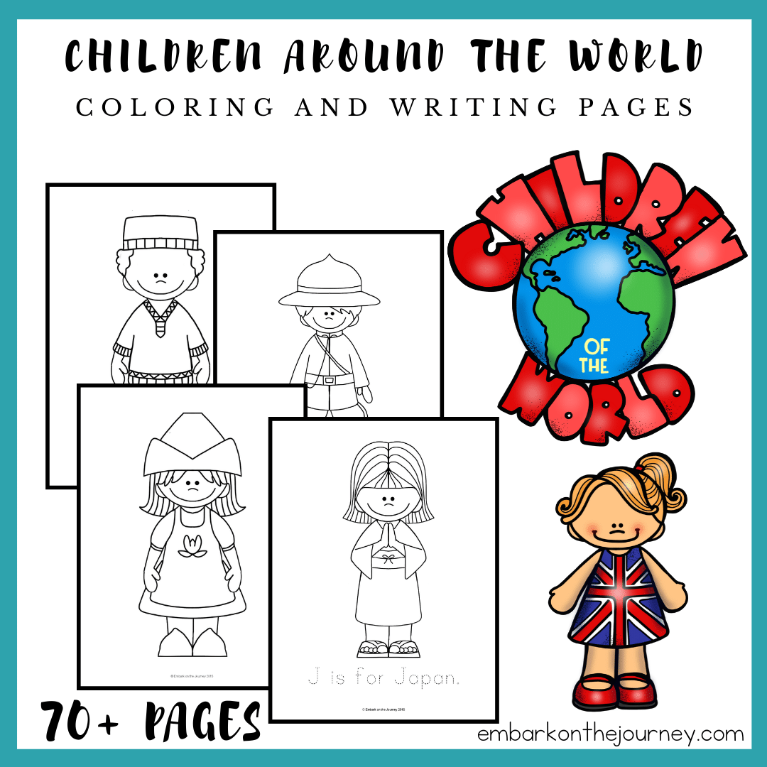 - Children Around The World Coloring And Writing Pages