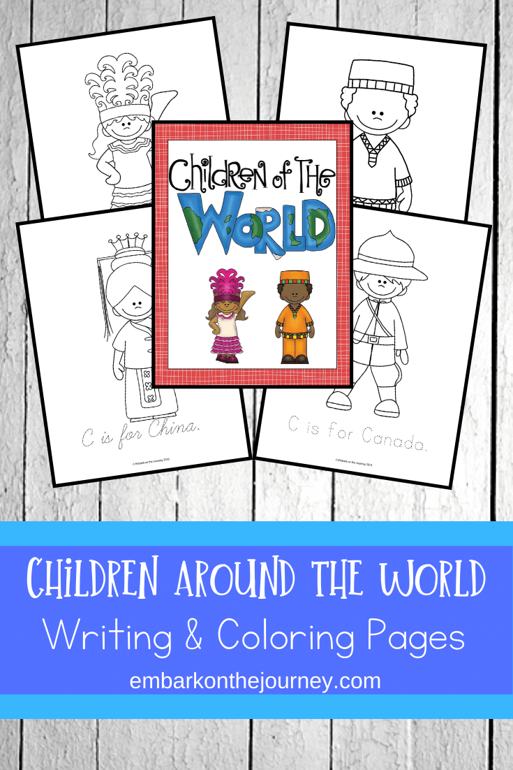 Introduce your children to other cultures with this FREE 75-page Children Around the World printable pack. It includes coloring and writing pages.
