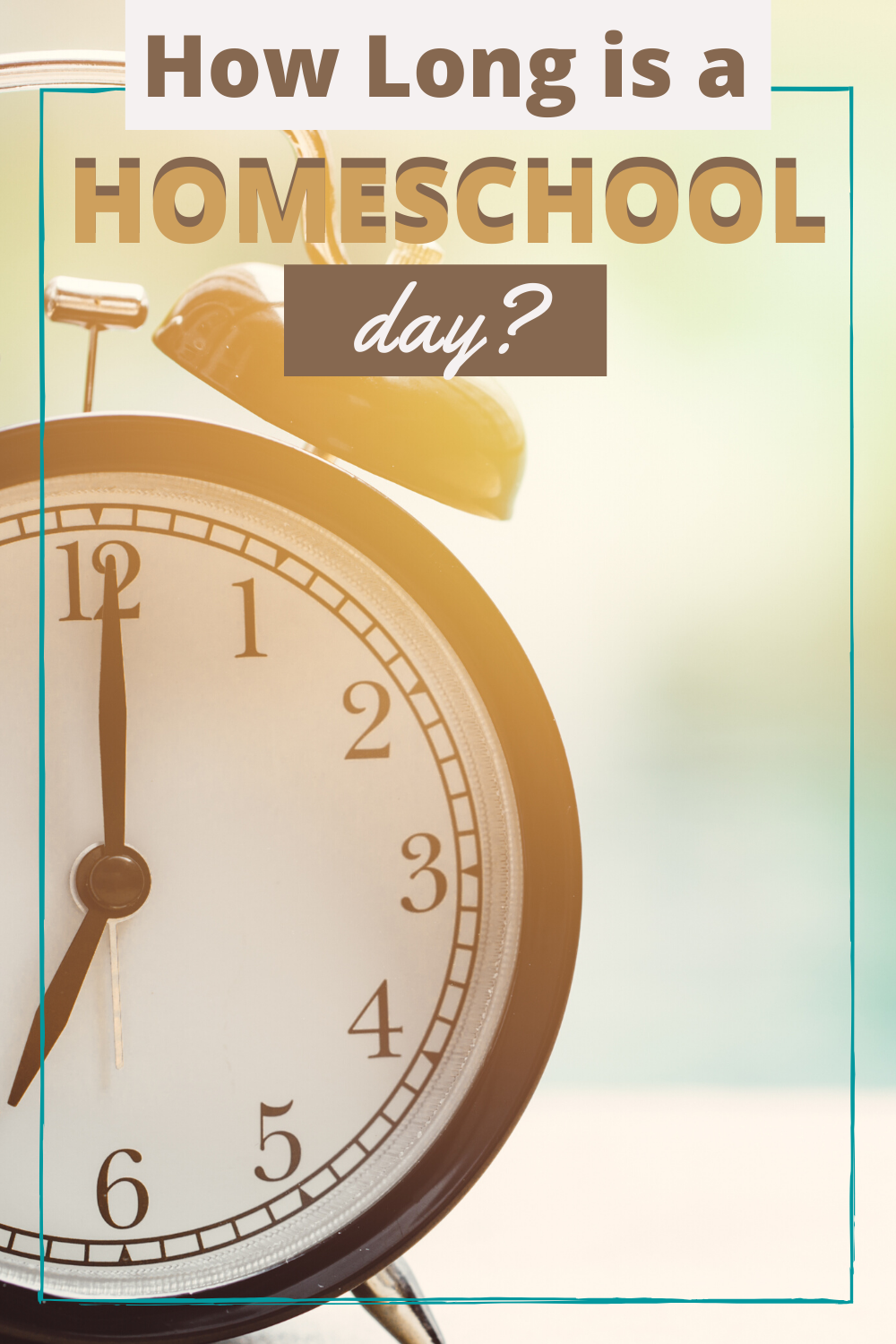 How long is a typical homeschool day? Every family is different, therefore, there is no set rule as to how long your day must be. Consider this…