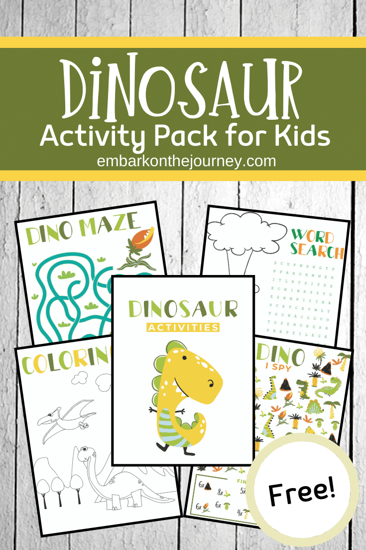 Download and print this fun dinosaur activity pack! It's perfect for quiet time, on-the-go, or anytime! Kids ages 4-8 will love it!