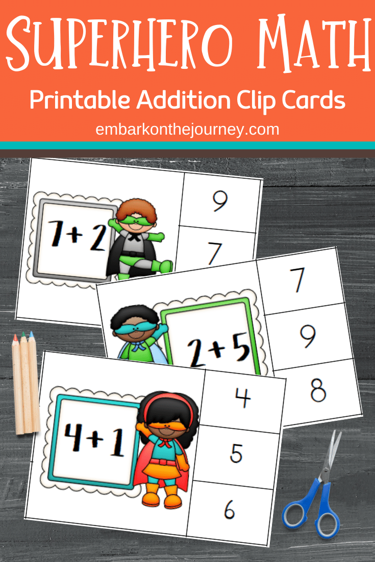 Your kids can master addition facts with these superhero math cards! These clip cards will help little learners master addition within ten.