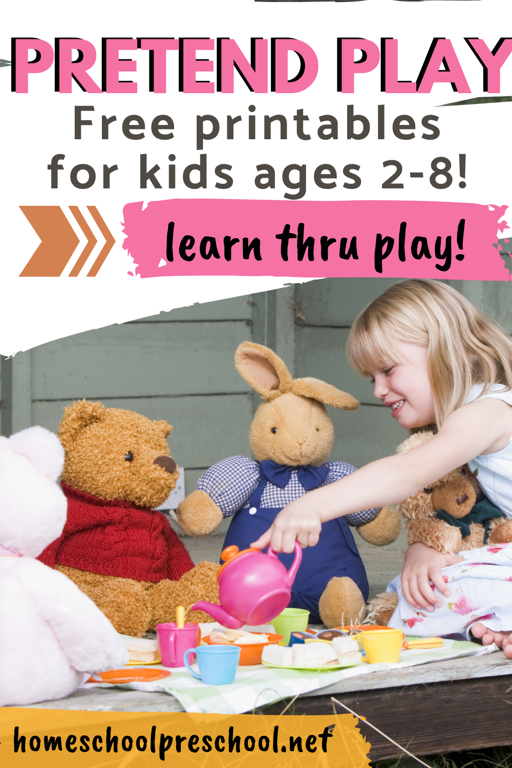 Kids learn best through play! It helps them learn skills in a natural way. These pretend play printables are perfect for preschool and kindergarten!